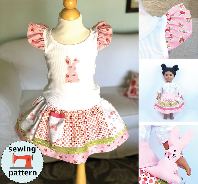 Includes matching doll skirt Evelyn Apron Twirl Skirt PDF image 0