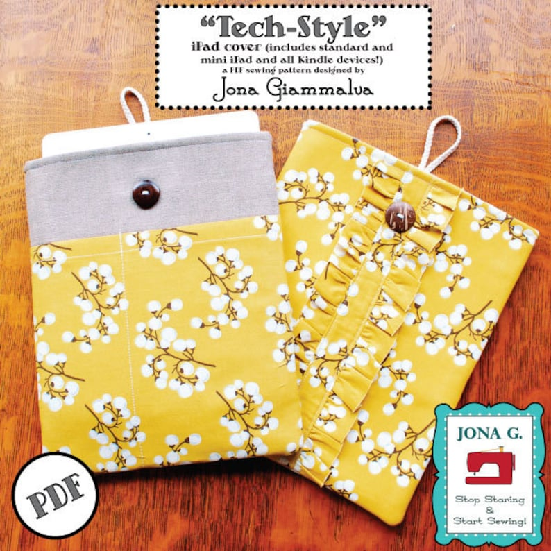 Tech-Style iPad Kindle e-reader cover case PDF Pattern eBook 2 image 0