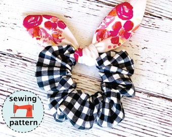 Hair Bunny Scrunchie PDF sewing pattern, instant download, hair accessory, beginner sewing pattern, sewing tutorial.