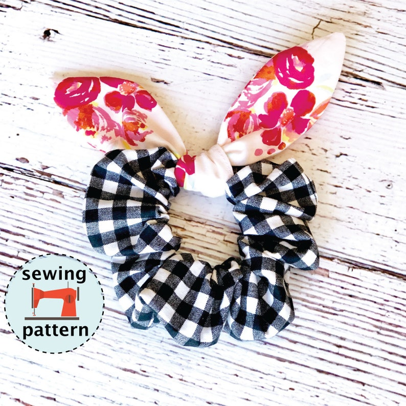 Hair Bunny Scrunchie PDF sewing pattern instant download image 0