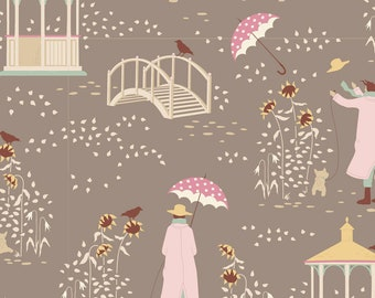PRE-ORDER TILDA Windy Days Fabric- Windy Walk Grey, Tilda's world Yardage, Tilda Quilt Fabric , By Yard, Tilda fabrics, TIL100357-V11