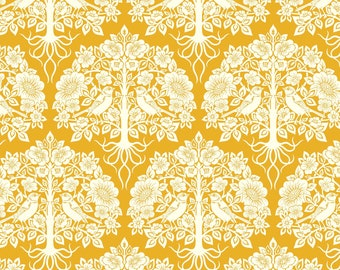 True Kisses by Heather Bailey for Figo Fabrics | Aflutter Gold, Cotton Quilting Fabric, 1 YARD / 90362-55