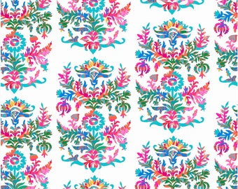 Mattie White Fabric, Happy Camper Fabric by Jennifer Paganelli for RB Studios, Quilting Cotton, Quilt Fabric, by the yard, 2506-02