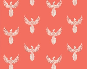 Rise Up Salmon Fabric, Onward and Upward by Jessica Swift, Art Gallery Fabric Quilting Cotton, Pegasus Fabric, AGF fabric, OUP-36210
