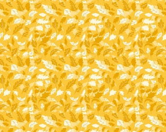 Leaves Yellow, Summers End by Alison Janssen, Quilting Cotton, Summers End Fabric by Figo, Quilt Fabric, 90342-52