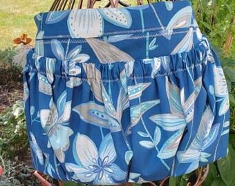 Garden Apron for Harvest Gathering Apron Blue Floral Pattern | Waist Apron with Large Pocket | Thick Durable 100% Cotton Duck Canvas