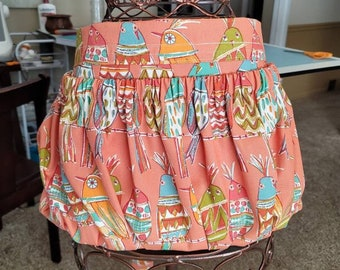 Garden Apron for Harvest Gathering Apron Coral Bird Pattern | Waist Apron with Large Pocket | Thick Durable 100% Cotton Duck Canvas