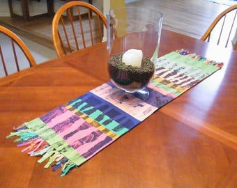Table Runner, fiber art, festive, quilted, original art, happy colors ORIGINAL
