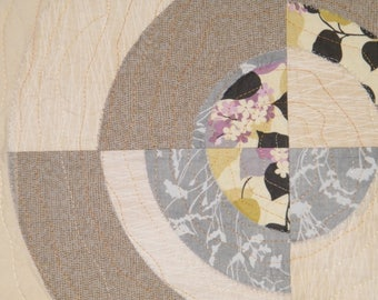 Quilted WALL HANGING fiber art neutral colors COOL!