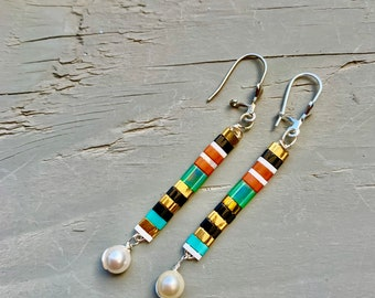 Muyuki  glass earrings with pearl drop or long Crystal drop earrings