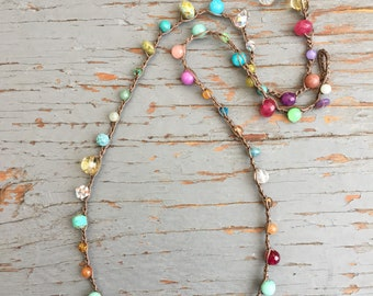 Pebble Beach crocheted necklace, boho, earthy necklace