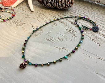 Super cute green hiker necklace earthy comfortable jewelry
