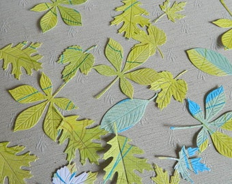 Leaves die cut lot of 20 - Green Leaves Die Cut  Papers