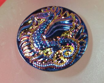 22mm Heliotrope(ish) Dragon Czech Glass Button