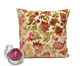 Floral Chenille Velvet Decorative Pillow - Handmade with Love from vintage upholstery fabrics by EllaOsix