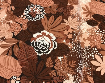 Original 70s Vintage Fabric by the Yard - Brown floral fabric  curtain fabric - pillowcase fabric - home decor fabric - deadstock fabric