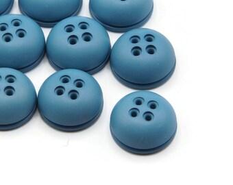 10 Blue Vintage Convex 4 Hole Buttons 20 mm