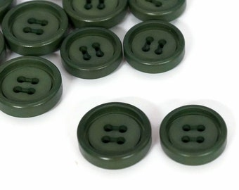 Green 1970s Vintage 4 Hole Buttons lot of 10 - 2 sizes available