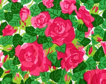 Cotton Vintage Fabric - Pink Roses -   Unused Deadstock Condition - Sold by the Meter