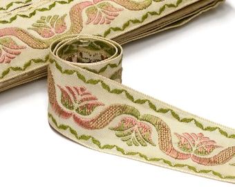 1960s French Jacquard Ribbon - Home Decor Trim - 42mm - 1 5/8 - new old stock condition - sold by the meter