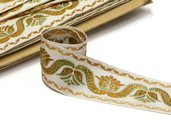 Vintage French Jacquard Trim -  Home Decor Ribbon -  42mm - 1 5/8 - new old stock condition - sold by the meter