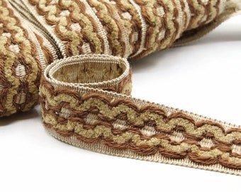"""Chenille Vintage Home Decor trim by the yard - Beige and Brown Passementerie trim by the Metre - 1 1/2"""" - 4cm wide"""