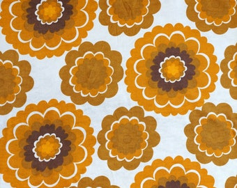 70s Orange Floral Vintage Fabric -  Unused Deadstock Condition - Sold by the Meter