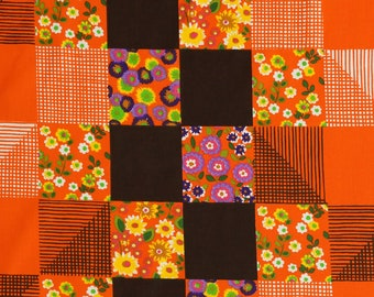 70s Orange Vintage Fabric  - checkered floral decor - unused deadstock condition - sold by the meter