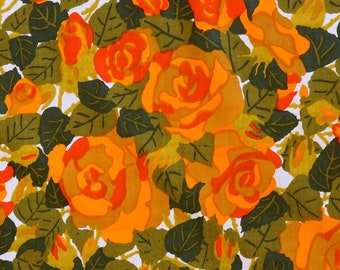 Cotton Vintage Fabric - Orange Roses -   Unused Deadstock Condition - Sold by the Meter