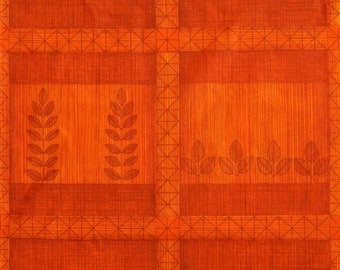 70s Orange Vintage Fabric  - graphic decor with plants - unused deadstock condition - sold by the meter