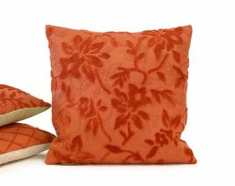 Velvet Pillow Cover in Dark Salmon with raised flowers handmade by EllaOsix