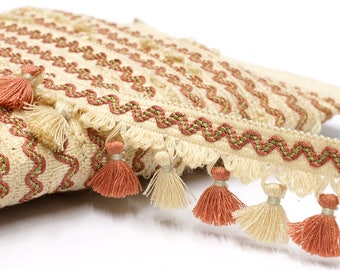 Vintage Tassel Trim by the yard - fringe trim in beige and pink - home decor trim - pillow trim - upholstery trim- curtain trim