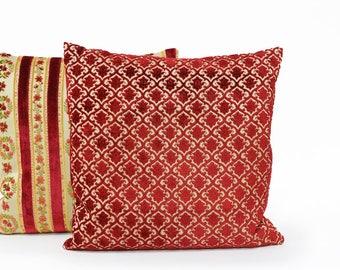 Red Velvet Pillow Cover | Cushion Cover | Throw Pillow | luxury Pillow | Mid Century Modern Decorative Pillow Handmade by EllaOsix