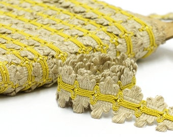 "Vintage Trim by the Yard - Beige Yellow Passementerie Trim - Decorative Trim - Border Trim - 3 cm / 1.18"""
