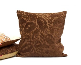 """Brown Velvet Pillow Case Handmade from Vintage Upholstery fabric by EllaOsix - 45x45 cm / 18x18"""""""