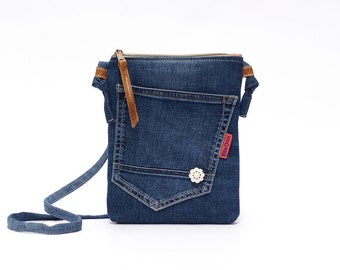 Recycled Jeans Bag -Small Crossbody Bag - Womens Denim Bag with a long strap, leather details and a vintage button made by EllaOsix