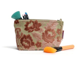 Velvet Makeup Bag - Pink Floral Cosmetic Pouch Handmade by EllaOsix
