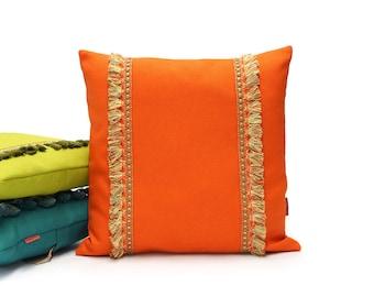 Orange Fringe Pillow   Tassel Cushion   70s Throw Pillow Cover Handmade by EllaOsix