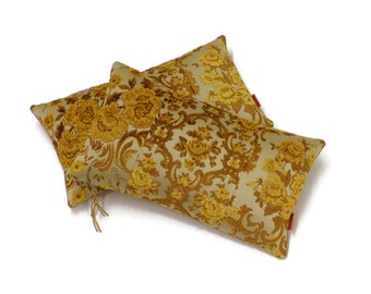 """Vintage Yellow Cut Velvet Pillow Cover - Floral Decor -  Handmade from Vintage Upholstery fabric by EllaOsix - 30x50 cm - 12x20"""""""