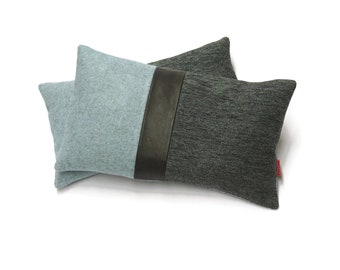 """Black Leather Accent Pillow made from upholstery fabrics by EllaOsix - 12""""x20"""" - 30x50 cm"""