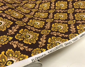 French Vintage Fabric - Damask Pattern - curtain fabric - deadstock fabric by the yard - mid century home decor - brown orange fabric