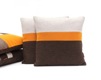 Modern Color Block Pillow - Luxury Accent Pillow in Orange Beige and Brown Handmade from upholstery fabrics by EllaOsix