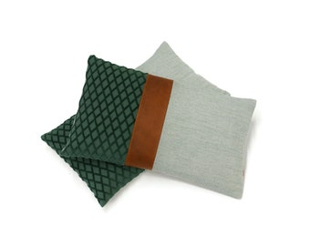 """Leather Accent Lumbar Pillow Cover by EllaOsix 12x20"""" - 30x50 cm"""