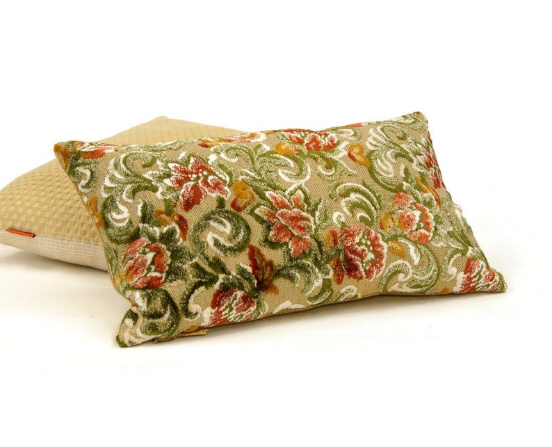 Lumbar Pillow Cover made from Vintage Cut Velvet Upholstery image 0