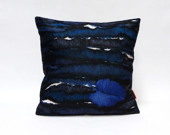 Blue Modern Pillow Cover 16x16, throw pillow, cushion cover, pillow sham, abstract accent pillow, designer pillow, handmade by EllaOsix