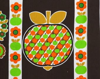 70s Vintage Fabric with Apples and Flowers on Dark brown - unused old stock condition - sold by the meter