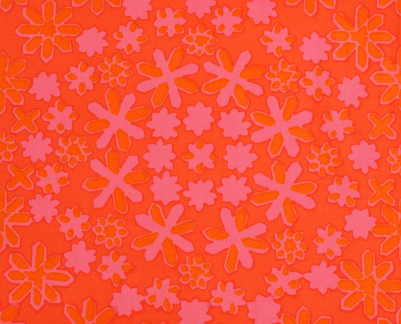 Floral Vintage 70s Fabric Cotton Satin Quality