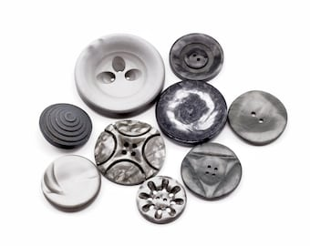Gray Vintage Buttons Lot of 9 in different sizes and designs