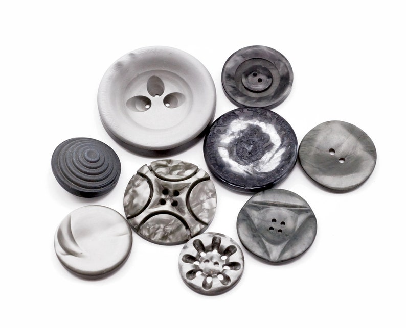 Gray Vintage Buttons Lot of 9 in different sizes and designs image 0