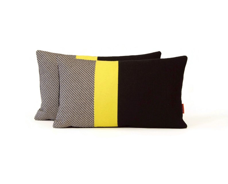 EllaOsix  Modern Lumbar Accent Pillow in Black and Yellow image 0